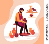master potter makes a clay vase.... | Shutterstock .eps vector #1300229308
