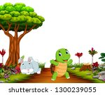 Stock photo a bunny sleep under tree while tortoise run on road 1300239055
