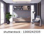 modern loft and dark livingroom ... | Shutterstock . vector #1300242535