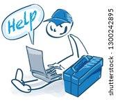 stick figure as a craftsman... | Shutterstock .eps vector #1300242895
