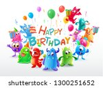 happy birthday with cute monster | Shutterstock .eps vector #1300251652