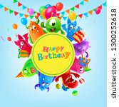 invitation party with monster | Shutterstock .eps vector #1300252618