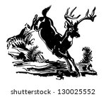 leaping deer   retro clip art... | Shutterstock .eps vector #130025552