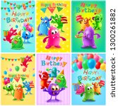 happy birthday frame with cute... | Shutterstock .eps vector #1300261882