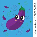 sweet  cute eggplant cartoon... | Shutterstock .eps vector #1300264738