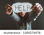 upset abused frightened little...   Shutterstock . vector #1300276978