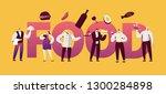 restaurant food waitress... | Shutterstock .eps vector #1300284898