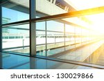 modern blue glass wall of... | Shutterstock . vector #130029866