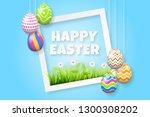 happy easter background... | Shutterstock .eps vector #1300308202
