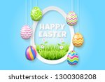 happy easter background... | Shutterstock .eps vector #1300308208