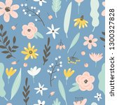 seamless pattern with flowers ... | Shutterstock .eps vector #1300327828