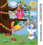 blue bunny with a bouquet on a...   Shutterstock .eps vector #1300338928