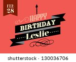 vintage birthday greetings... | Shutterstock .eps vector #130036706
