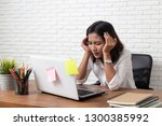 desperate businesswoman worried ...   Shutterstock . vector #1300385992