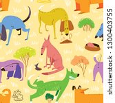 seamless pattern with dogs.... | Shutterstock .eps vector #1300403755