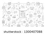 audit icons set. line icons on... | Shutterstock . vector #1300407088
