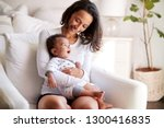 young adult mother sitting in... | Shutterstock . vector #1300416835
