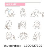 hair care procedures.line... | Shutterstock .eps vector #1300427302