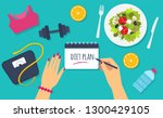 diet plan. woman hands holding... | Shutterstock .eps vector #1300429105