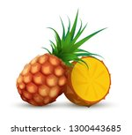 whole pineapple with half... | Shutterstock .eps vector #1300443685