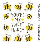 cute honey bees frame for your... | Shutterstock .eps vector #1300460782