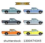 set of pickup cars isolated on... | Shutterstock .eps vector #1300474345