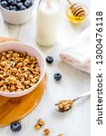 fitness breakfast with granola  ...   Shutterstock . vector #1300476118