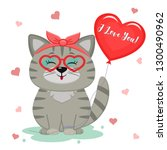 Stock photo congratulations on valentine s day cute gray kitten sitting in the bezel paw holding a heart 1300490962