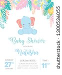 Stock vector elephant baby shower theme invitation template 1300536055