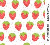 strawberries. vector seamless...   Shutterstock .eps vector #1300539412