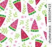 watermelon slices with flowers... | Shutterstock .eps vector #1300539415