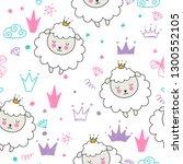 seamless pattern with cartoon... | Shutterstock .eps vector #1300552105