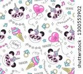 cute panda pattern on a white...   Shutterstock .eps vector #1300553902