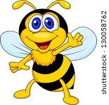 Stock vector cute bee cartoon waving 130058762