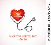 stethoscope measuring heartbeat ... | Shutterstock .eps vector #1300608742