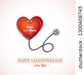 stethoscope measuring heartbeat ... | Shutterstock .eps vector #1300608745