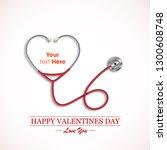 stethoscope measuring heartbeat ... | Shutterstock .eps vector #1300608748