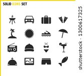 sunny icons set with cap ...