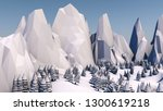 low poly forest landscape.... | Shutterstock . vector #1300619218