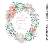 wedding tropical greenery frame.... | Shutterstock .eps vector #1300629088