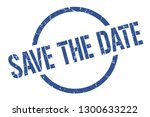 save the date blue round stamp | Shutterstock .eps vector #1300633222