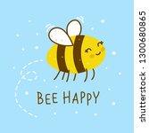 cute honey bee on blue... | Shutterstock .eps vector #1300680865
