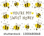 cute honey bees frame for your... | Shutterstock .eps vector #1300680868