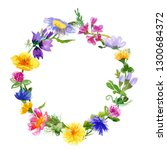 wreath with hand drawn... | Shutterstock . vector #1300684372