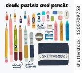 chalk pastels and pensils art... | Shutterstock .eps vector #1300709758