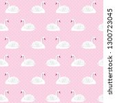 seamless white swan on a pink... | Shutterstock .eps vector #1300723045