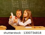school girls. happy school... | Shutterstock . vector #1300736818