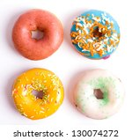 colorful delicious donuts... | Shutterstock . vector #130074272
