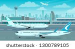 airport terminal building and... | Shutterstock .eps vector #1300789105
