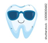 comic tooth with sunglasses... | Shutterstock .eps vector #1300830682